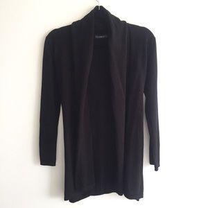 ZARA Knit Open Front Cardigan With Belt Black M